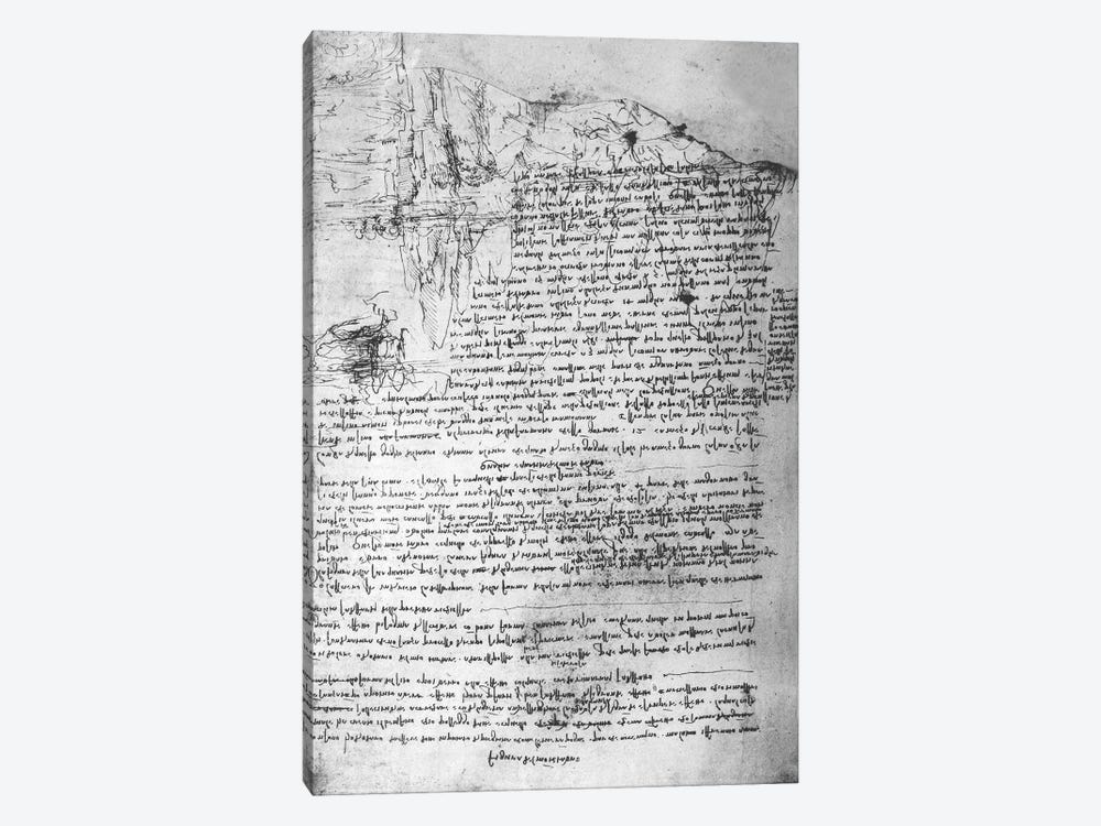 Fol.145v-b, page from Da Vinci's notebook  by Leonardo da Vinci 1-piece Canvas Print