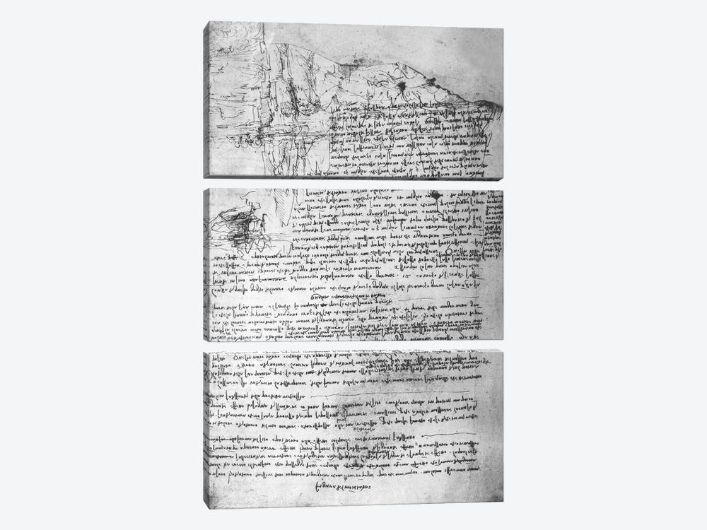 Fol.145v-b, page from Da Vinci's notebook  by Leonardo da Vinci 3-piece Canvas Art Print
