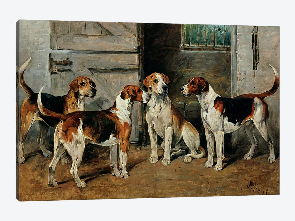 Study of Hounds by John Emms 1-piece Canvas Art Print