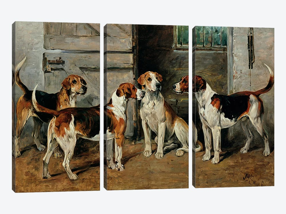 Study of Hounds by John Emms 3-piece Canvas Print