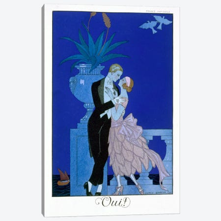 Yes! 1921 (colour litho) Canvas Print #BMN33} by Georges Barbier Canvas Art Print