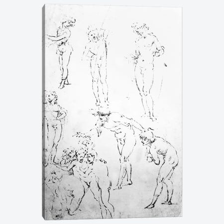 Figural Studies for the Adoration of the Magi, c.1481  Canvas Print #BMN3400} by Leonardo da Vinci Canvas Art Print