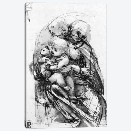Study for a Madonna with a Cat, c.1478-80  Canvas Print #BMN3401} by Leonardo da Vinci Canvas Print
