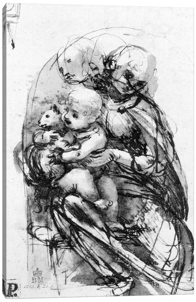 Study for a Madonna with a Cat, c.1478-80  Canvas Art Print
