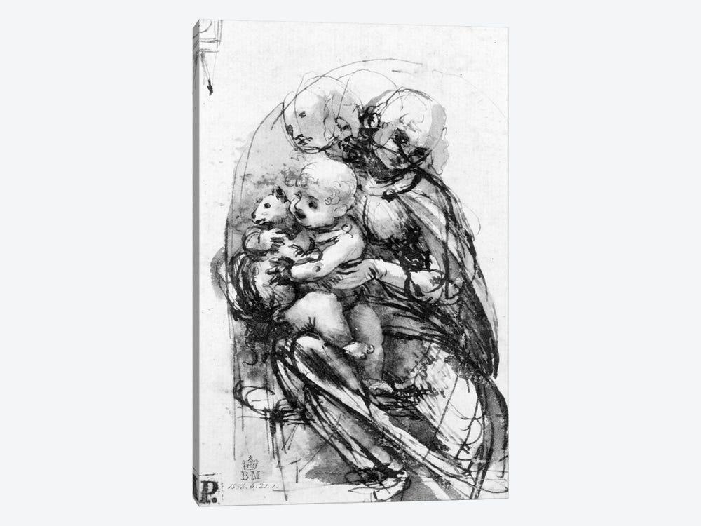 Study for a Madonna with a Cat, c.1478-80  by Leonardo da Vinci 1-piece Canvas Art Print