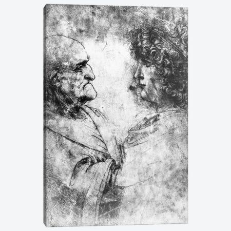 Study of a 'nutcracker' man and beautiful youth, c.1500  Canvas Print #BMN3402} by Leonardo da Vinci Art Print