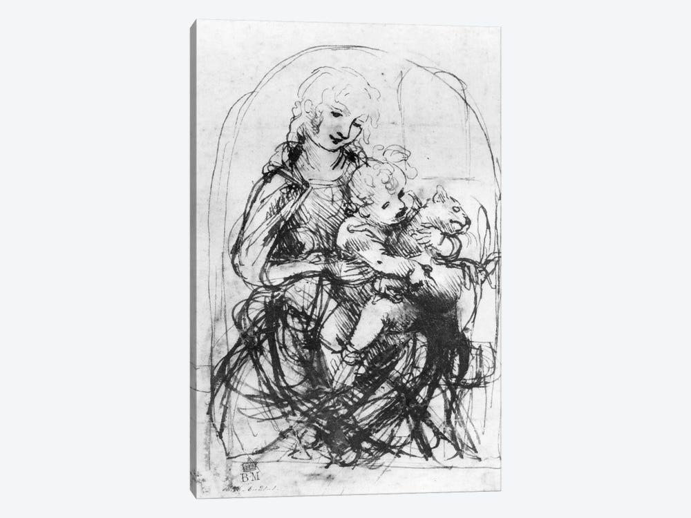 Study for a Madonna with a Cat, c.1478-80  by Leonardo da Vinci 1-piece Canvas Artwork