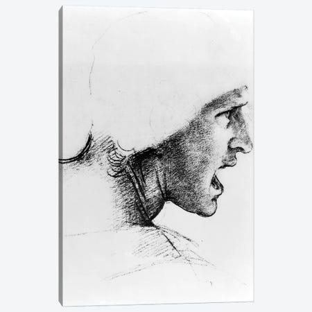 Study for the head of a soldier in 'The Battle of Anghiari', c.1504-05  Canvas Print #BMN3408} by Leonardo da Vinci Canvas Art Print