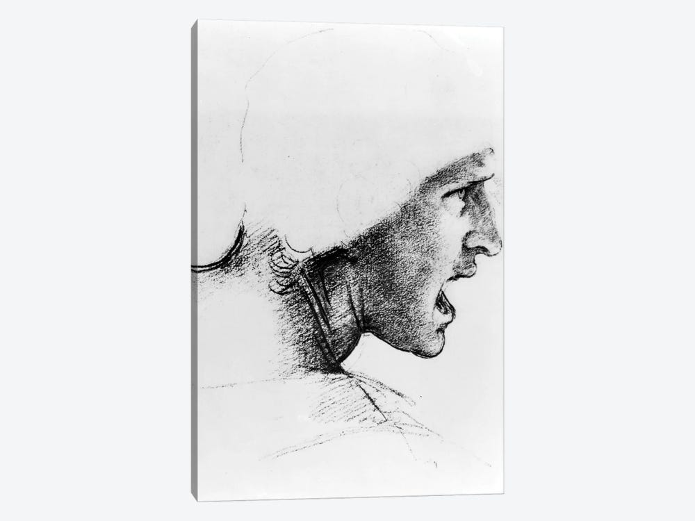 Study for the head of a soldier in 'The Battle of Anghiari', c.1504-05  by Leonardo da Vinci 1-piece Canvas Artwork