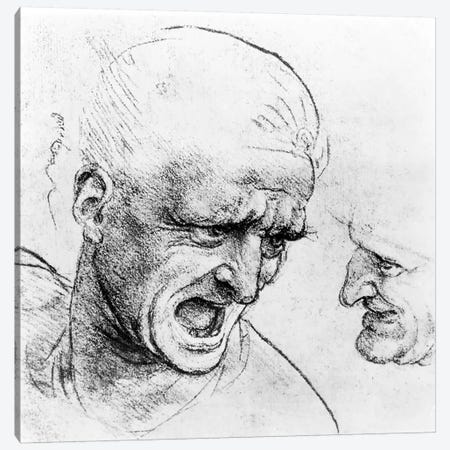 Studies for the heads of two soldiers in 'The Battle of Anghiari', c.1504-05  Canvas Print #BMN3409} by Leonardo da Vinci Art Print