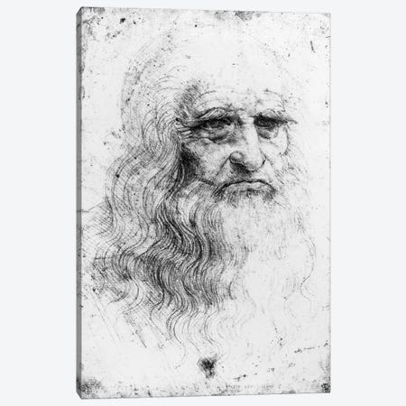 Lithograph, Self Portrait, c.1515-16 (Musei Reali Torino) Canvas Print #BMN3411} by Leonardo da Vinci Canvas Artwork