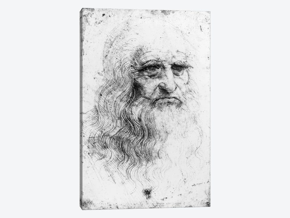 Lithograph, Self Portrait, c.1515-16 (Musei Reali Torino) by Leonardo da Vinci 1-piece Canvas Artwork