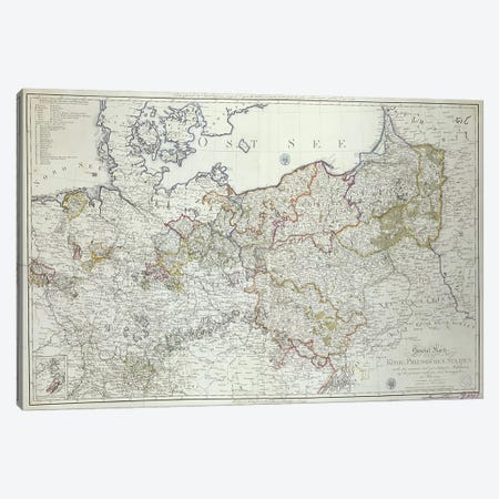 Map of the Prussian States in 1799  Canvas Print #BMN3415} by German School Canvas Art Print