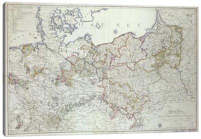 Map of the Prussian States in 1799 Canvas Art Print