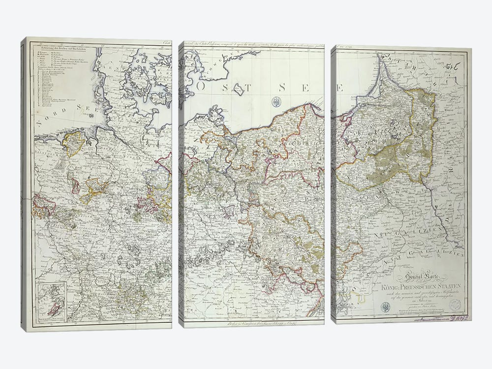 Map of the Prussian States in 1799  by German School 3-piece Canvas Art