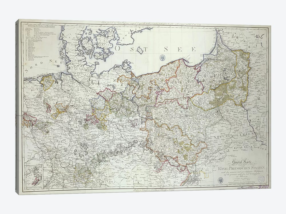 Map of the Prussian States in 1799  by German School 1-piece Canvas Artwork