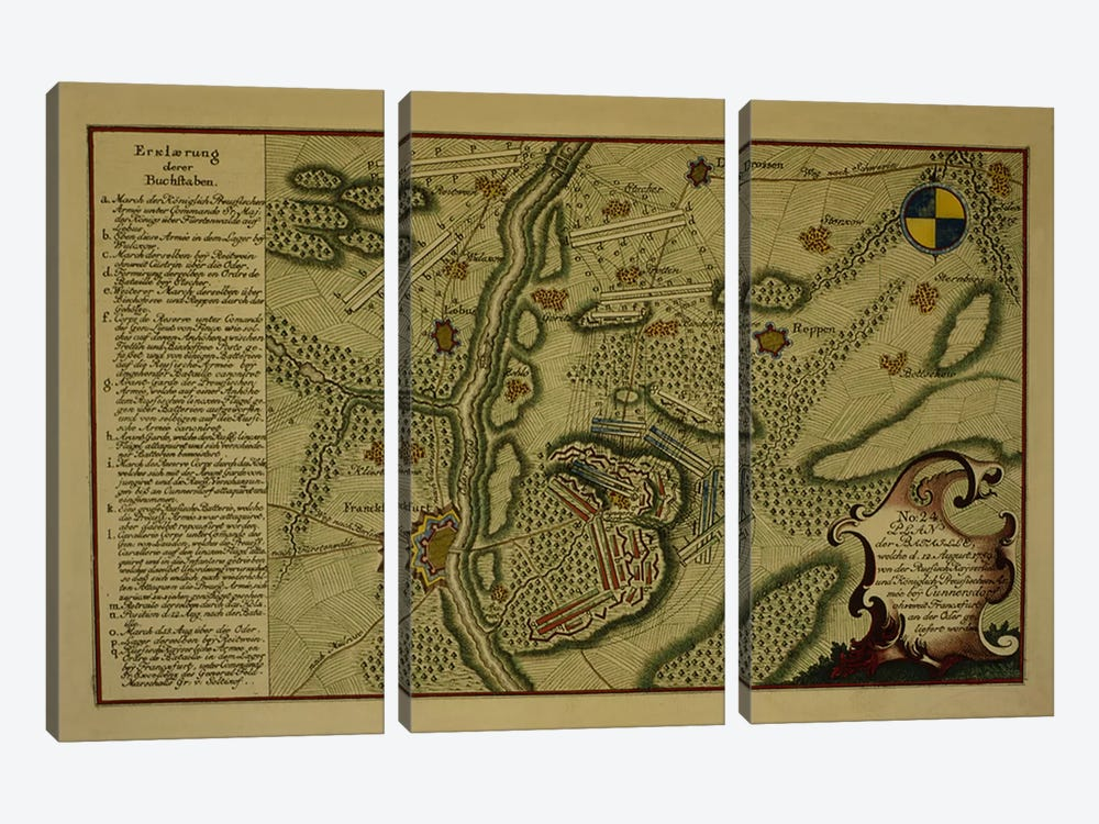 Plan of the Battle of Kunersdorf, August 12th, 1759, 1759 by German School 3-piece Canvas Wall Art