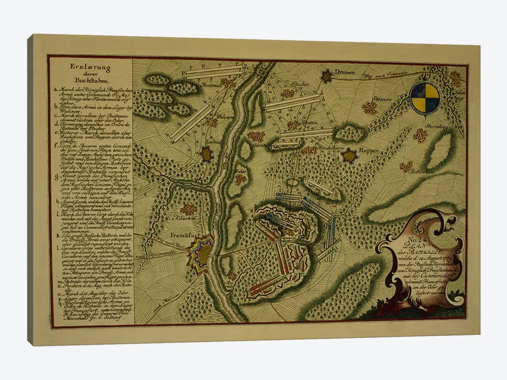 Plan of the Battle of Kunersdorf, August 12th, 1759, 1759  by German School 1-piece Canvas Art