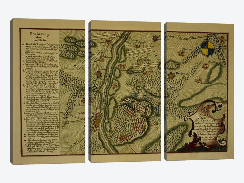 Plan of the Battle of Kunersdorf, August 12th, 1759, 1759  by German School 3-piece Canvas Wall Art