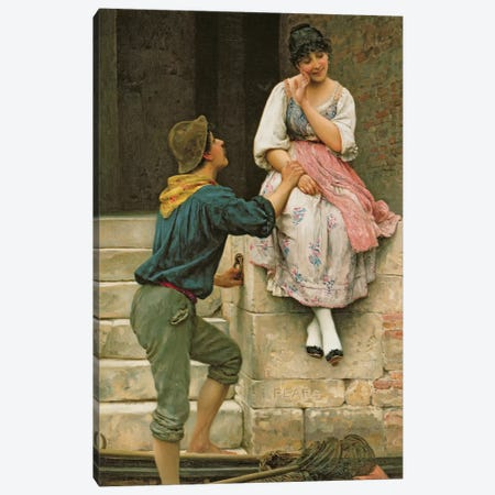The Fisherman's Wooing, from the Pears Annual, Christmas, 1894 Canvas Print #BMN341} by Eugen von Blaas Art Print