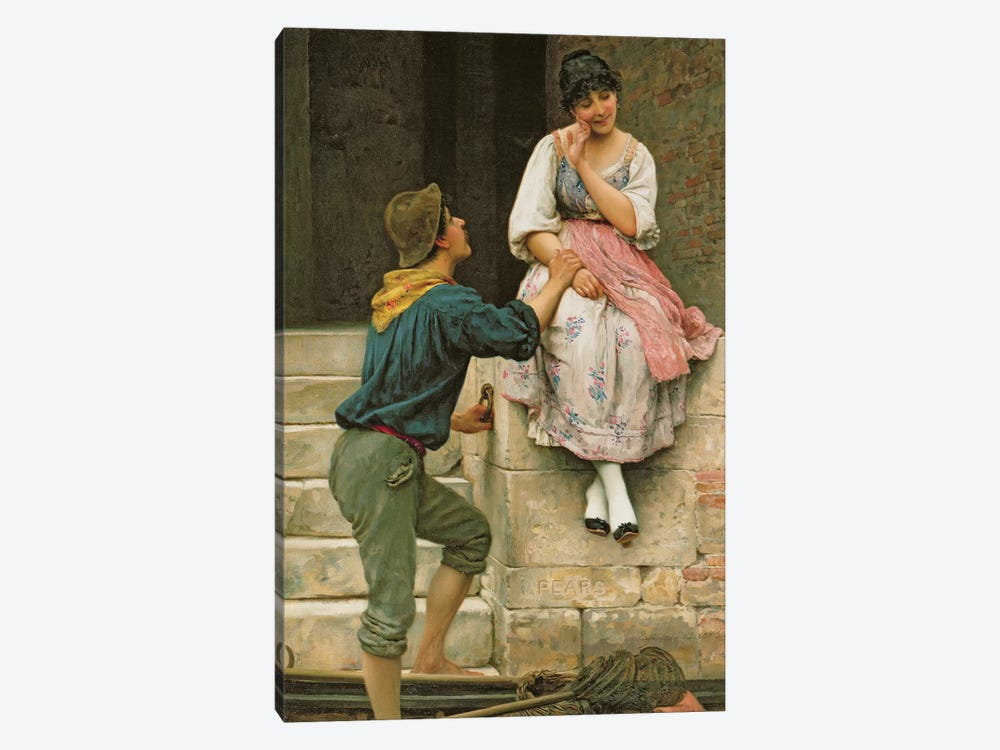 The Fisherman's Wooing, from the Pears Annual, Christmas, 1894 by Eugen von Blaas 1-piece Canvas Artwork