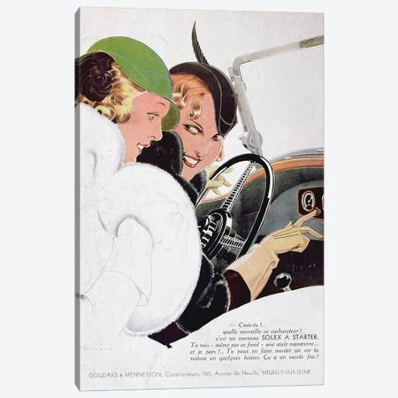 Advertisement for Solex carburettors, from 'Vogue' magazine, January, 1932  Canvas Print #BMN3427} by Rene Vincent Canvas Art