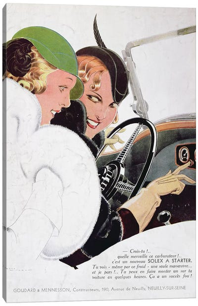 Advertisement for Solex carburettors, from 'Vogue' magazine, January, 1932  Canvas Art Print