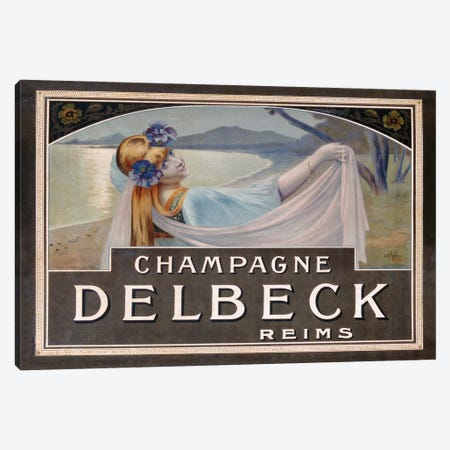 Advertisement for Champagne Delbeck, printed by Camis, Paris, c.1910  Canvas Print #BMN3428} by Louis Chalon Canvas Print