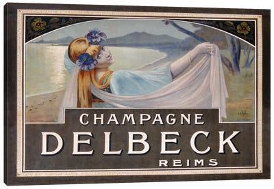Advertisement for Champagne Delbeck, printed by Camis, Paris, c.1910  Canvas Art Print