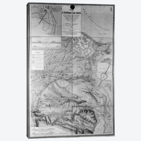 Preparatory Map of the Suez Canal, 1855  Canvas Print #BMN3430} by French School Canvas Art
