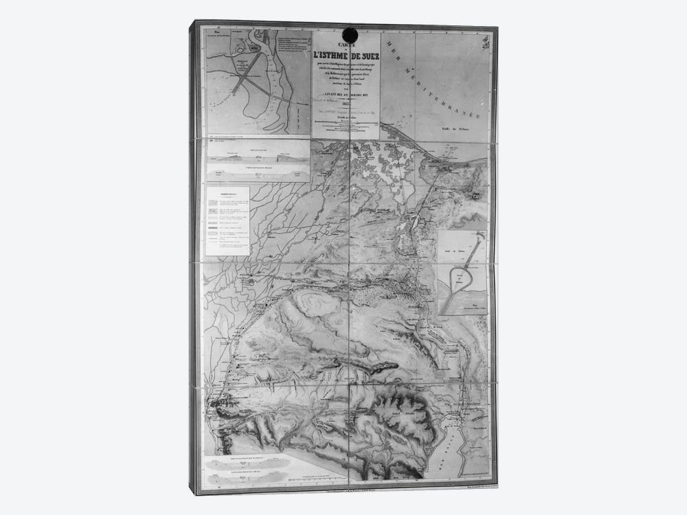 Preparatory Map of the Suez Canal, 1855 by French School 1-piece Canvas Art Print