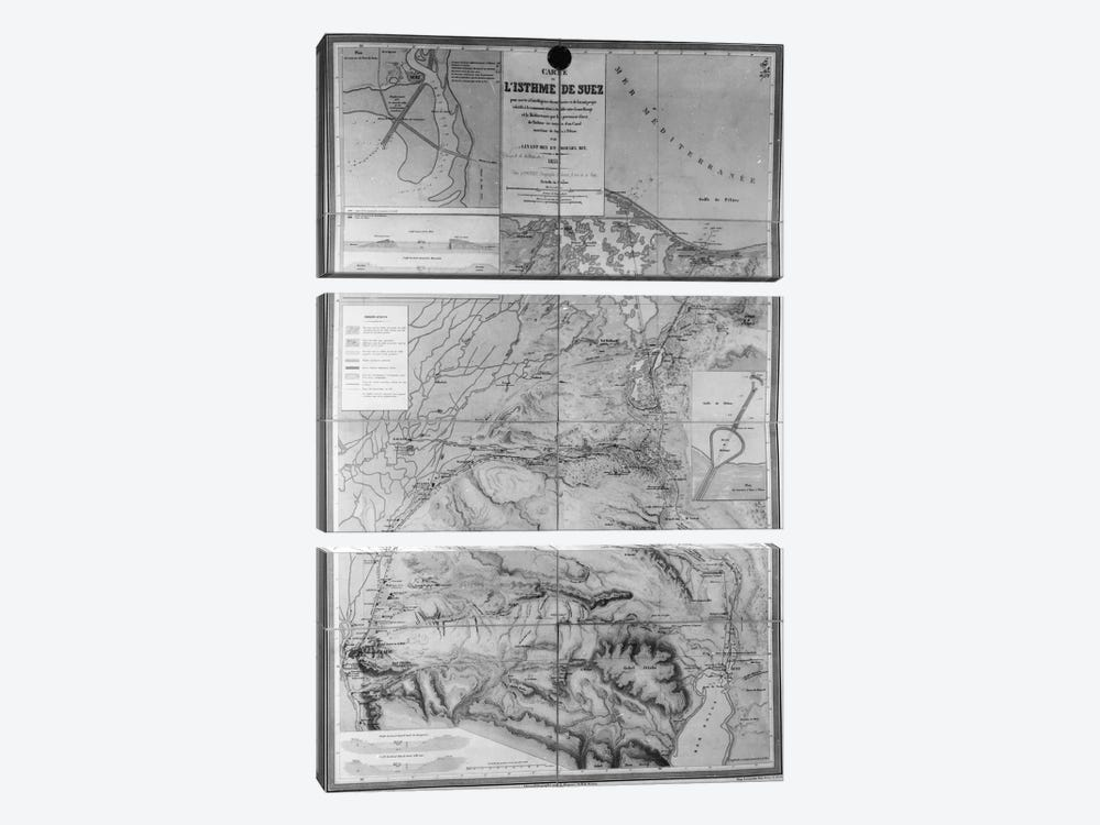 Preparatory Map of the Suez Canal, 1855 by French School 3-piece Art Print