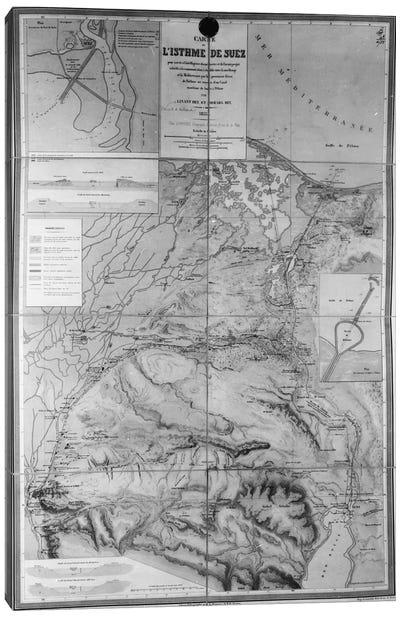 Preparatory Map of the Suez Canal, 1855  Canvas Art Print