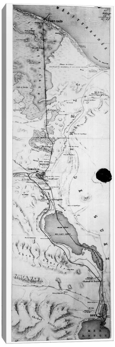 Map of the Suez Canal, c.1869  Canvas Art Print