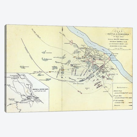 Plan of the Battle of Cawnpoor, 6th December 1857, engraved by Guyot & Wood, pub. by William Mackenzie, c.1860  Canvas Print #BMN3434} by English School Art Print