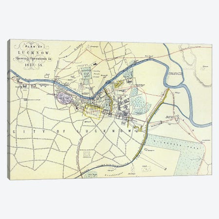 Plan of Lucknow showing Operations in 1857-58, pub. by William Mackenzie, c.1860  Canvas Print #BMN3435} by English School Art Print