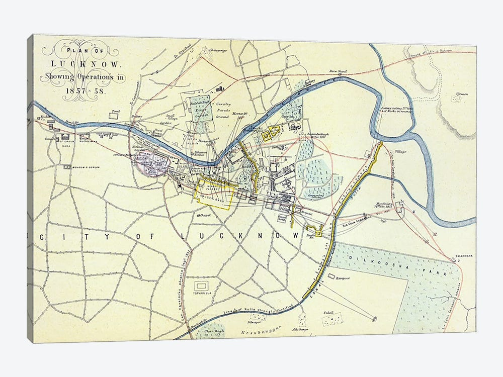 Plan of Lucknow showing Operations in 1857-58, pub. by William Mackenzie, c.1860 by English School 1-piece Canvas Wall Art