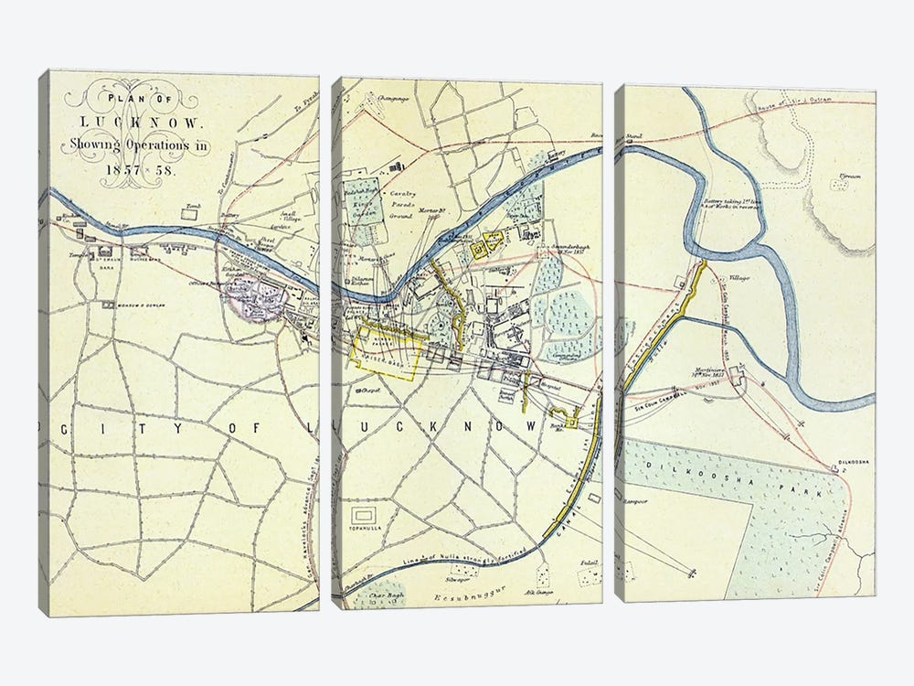Plan of Lucknow showing Operations in 1857-58, pub. by William Mackenzie, c.1860  by English School 3-piece Canvas Art