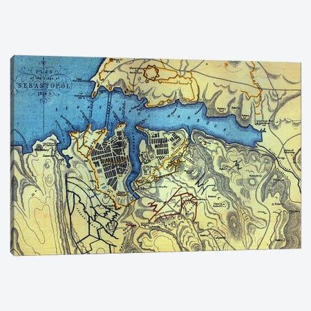 Plan of the Siege of Sebastopol 1854-55, engraved by Robert Walker, pub. William Mackenzie, c.1860  Canvas Print #BMN3436} by English School Canvas Print