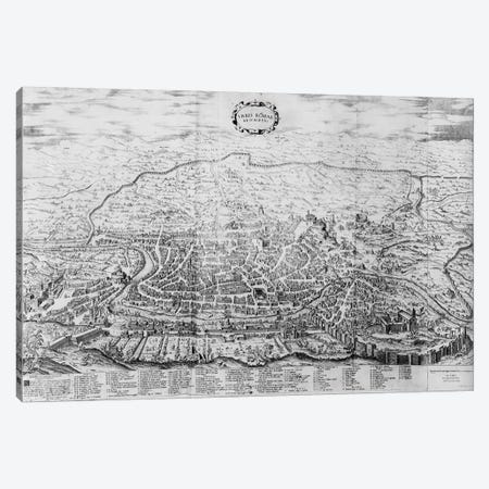 Map of Rome, from the 'Speculum Romanae Magnificentiae' published in 1562  Canvas Print #BMN3442} by Antonio Lafreri Canvas Print