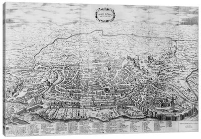 Map of Rome, from the 'Speculum Romanae Magnificentiae' published in 1562  Canvas Art Print