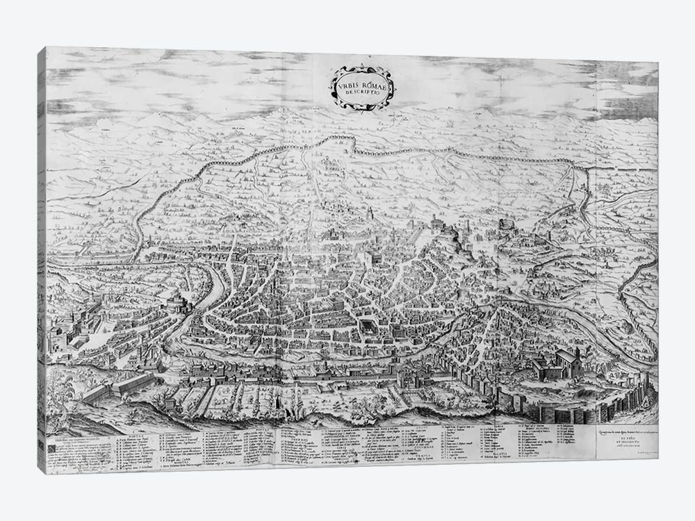 Map of Rome, from the 'Speculum Romanae Magnificentiae' published in 1562  by Antonio Lafreri 1-piece Canvas Art