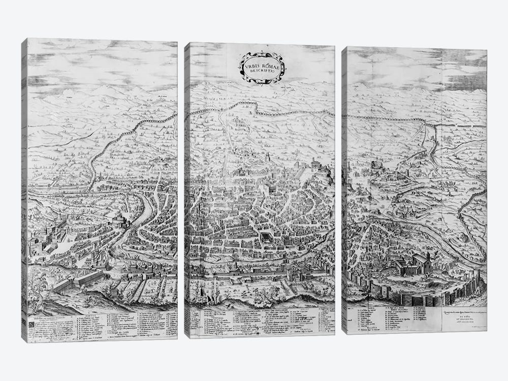 Map of Rome, from the 'Speculum Romanae Magnificentiae' published in 1562  by Antonio Lafreri 3-piece Canvas Artwork
