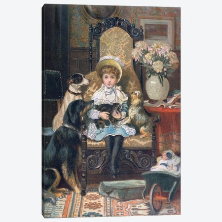 'Doddy and her Pets', c.1885  Canvas Print #BMN3446} by Charles Trevor Garland Canvas Art