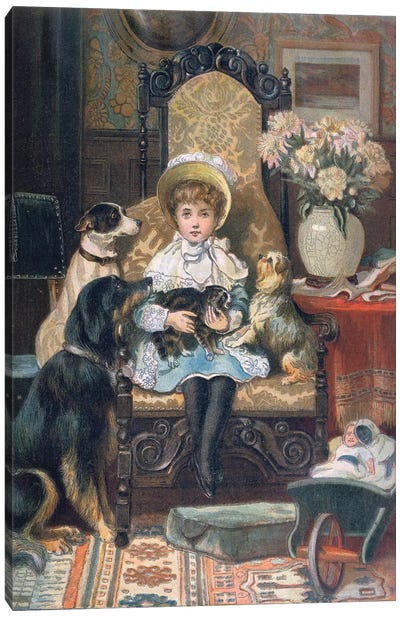 'Doddy and her Pets', c.1885  Canvas Art Print