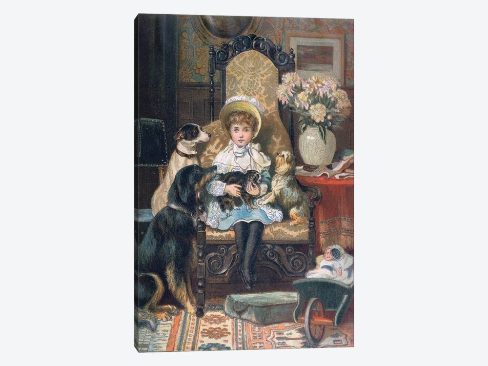 'Doddy and her Pets', c.1885  by Charles Trevor Garland 1-piece Canvas Artwork