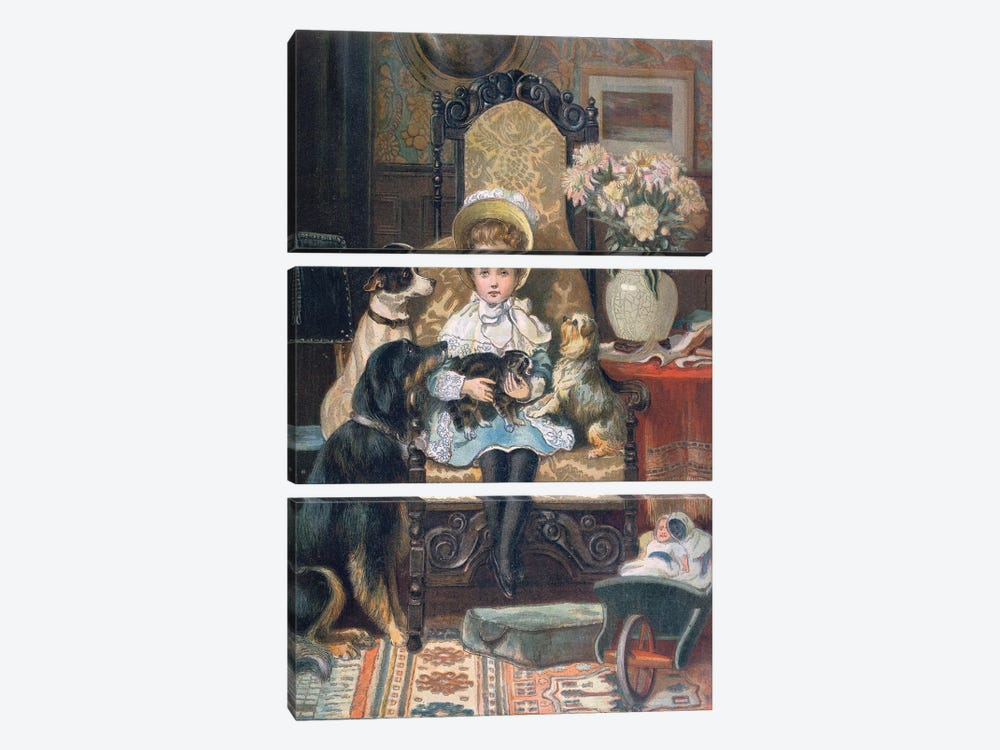 'Doddy and her Pets', c.1885  by Charles Trevor Garland 3-piece Canvas Wall Art