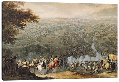 The Battle of Poltava, engraved by one of the Nicolas Larmessin family, 1709  Canvas Art Print
