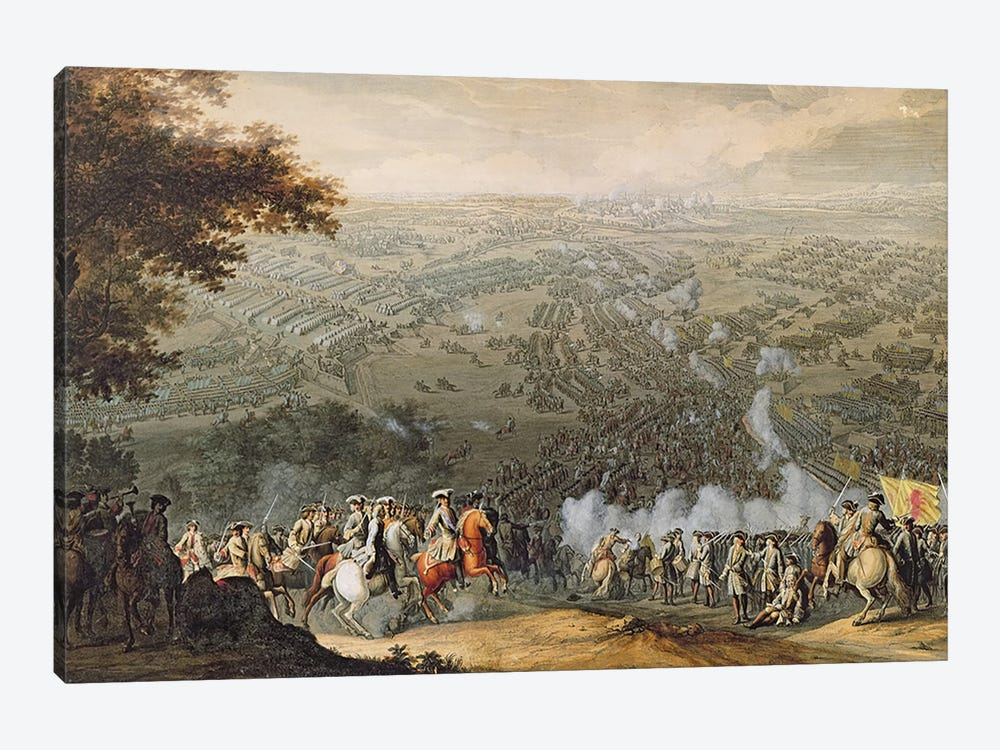 The Battle of Poltava, engraved by one of the Nicolas Larmessin family, 1709  by Pierre-Denis Martin 1-piece Canvas Art Print