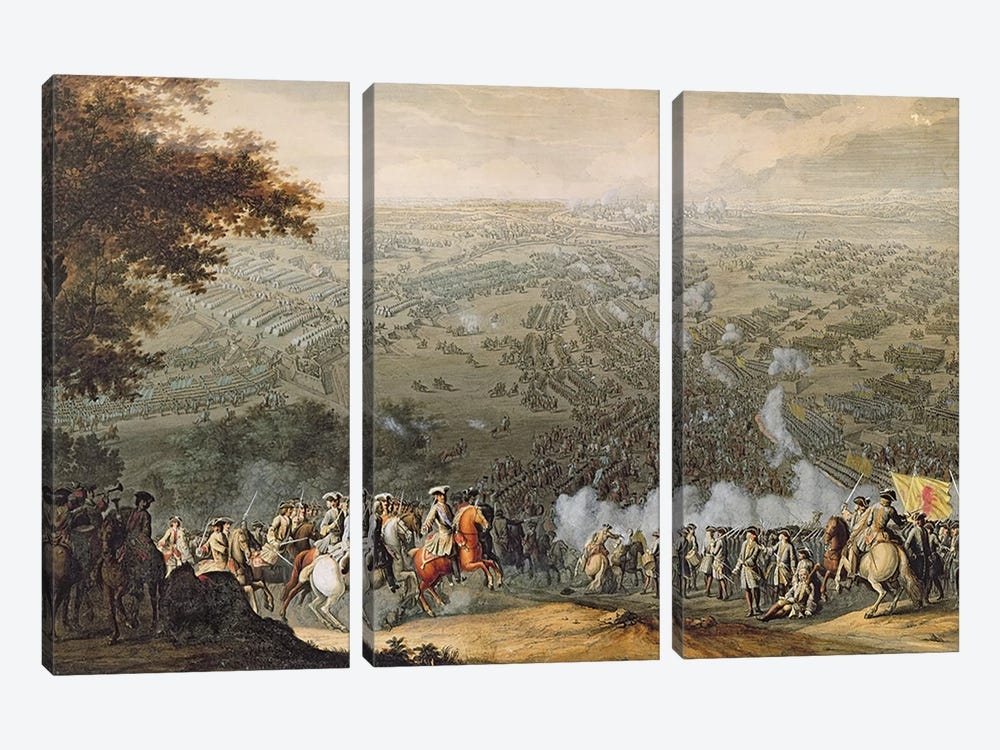 The Battle of Poltava, engraved by one of the Nicolas Larmessin family, 1709  by Pierre-Denis Martin 3-piece Canvas Art Print